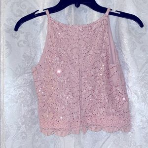 BCX Girl pink lace crop top